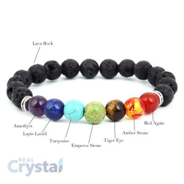 Volcanic Stone Beads 7 Chakra Yoga Bracelet