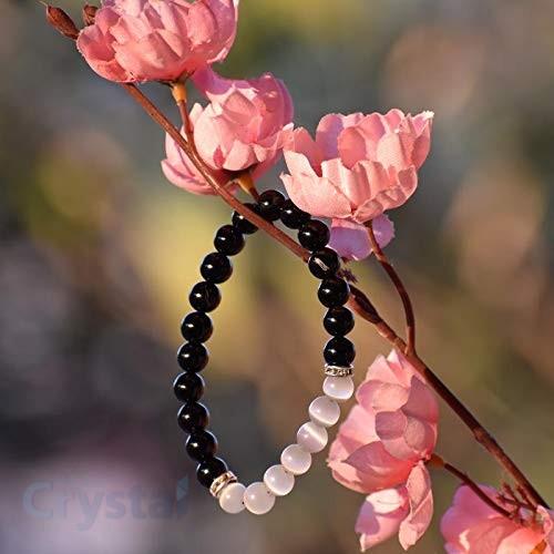 Black obsidian selenite bracelet