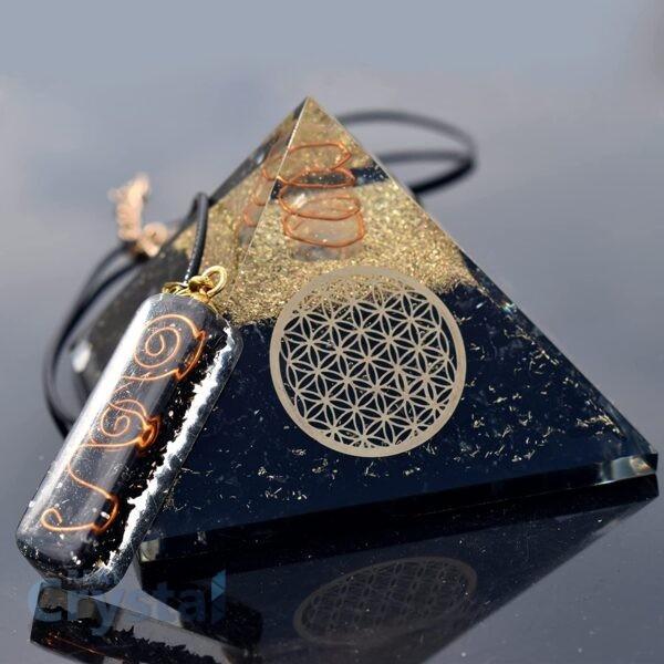 Black Tourmaline Orognite Pyramid Necklace