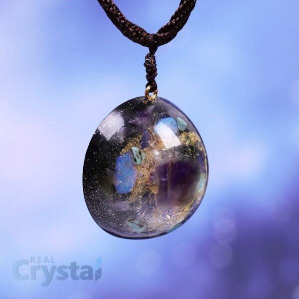Energy Amethyst Meditation Crystals Orgonite Necklace Healthy Planet Emf Protection Orgone Pendant Necklace